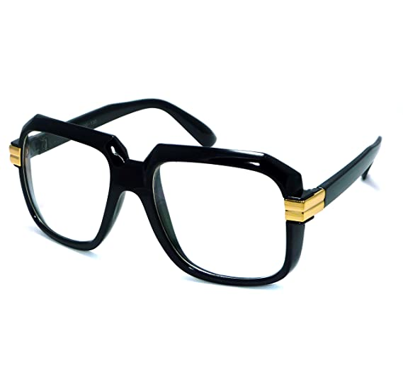 e102473503f4 HIP Hop Rapper Retro Large Oversized Clear Lens Eye Glasses (Black Gold)
