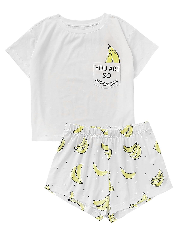SOLY HUX Pijama Mujer Verano Corto Conjunto de Pijamas Pantalones Manga Corto 2 Piezas