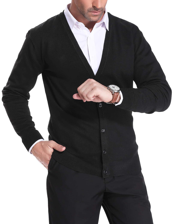 Herren Strickjacke Casual V-Ausschnit Langarm Slim Fit Cardigan Strickjacken