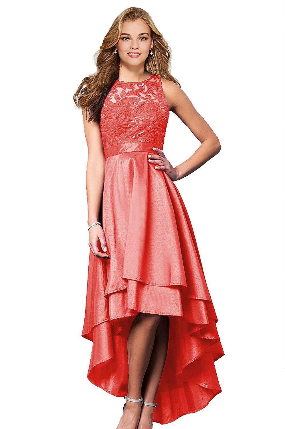 8adffdccb8 ... Lace Bridesmaid Dresses High Low Satin Prom Dress Evening Gowns Formal  B080.   