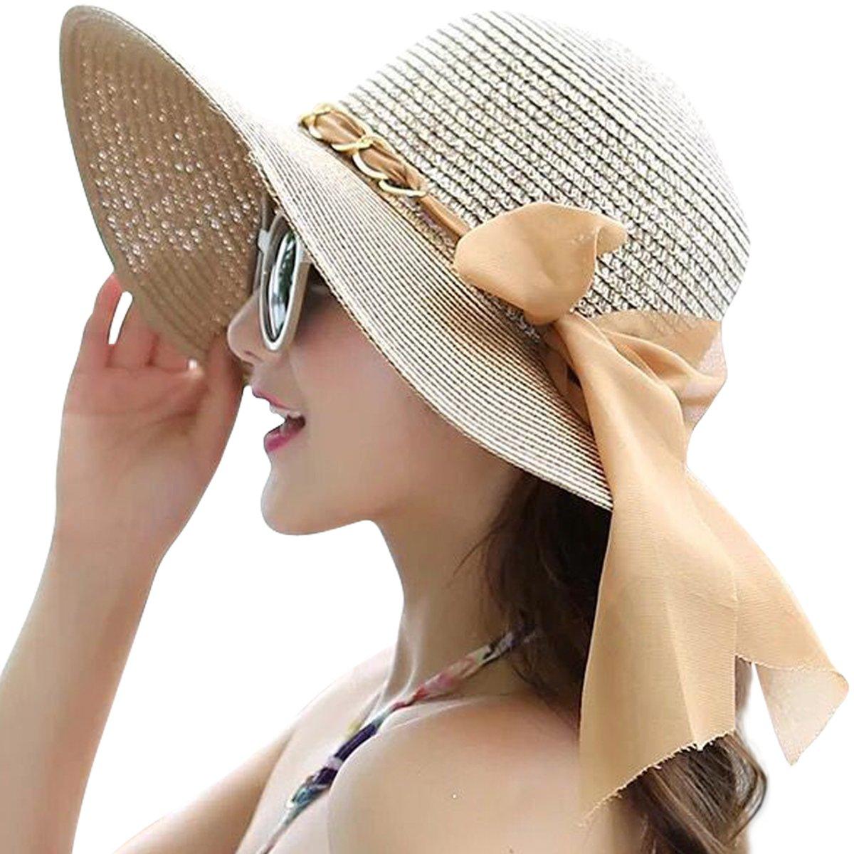 Lanzom Womens Wide Brim Straw Hat Floppy Foldable Roll up Cap Beach Sun Hat UPF 50+ (Style C-Khaki)