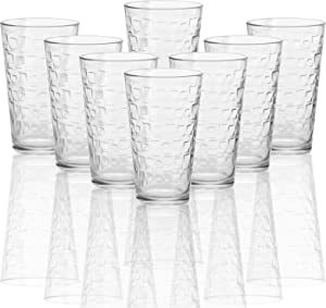 Circleware 40205 Blocks Set of 8 Heavy Base Highball Drinking Glasses Tumblers Ice Tea Beverage Cups Glassware for Water, Juice, Beer and Bar Decor Gifts, 15.7 oz,