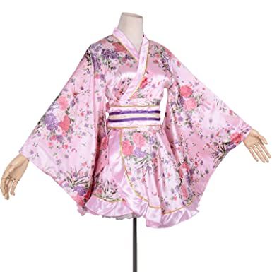 Sexy Girl Luxury Short Kimono Robe Sweet Floral Patten Japanese Kimono  Dress Outfit Women s Silk Satin 8be467772