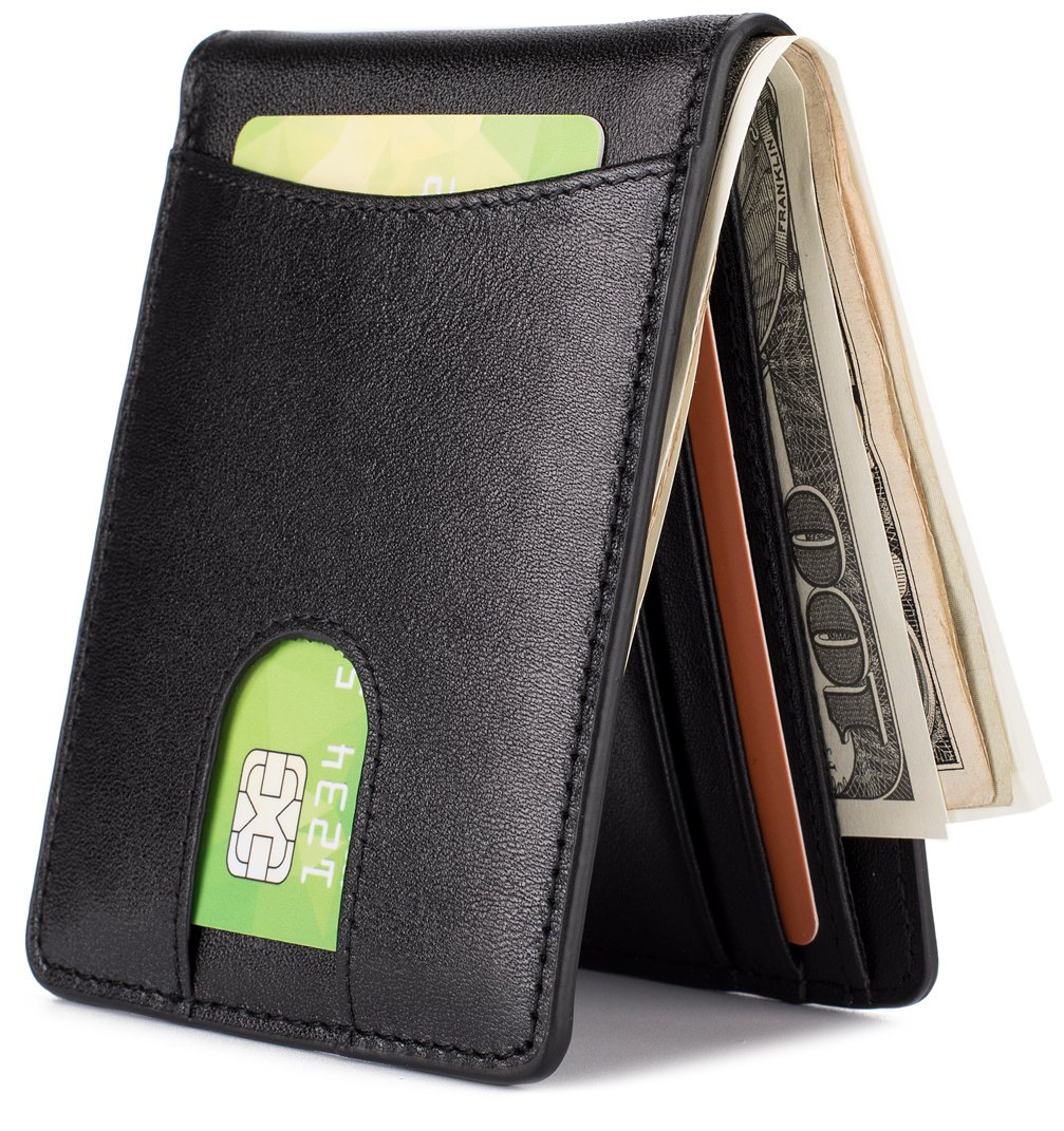 Mens Leather Wallet Slim Front Pocket Wallet Billfold ID Window RFID Blocking-Black