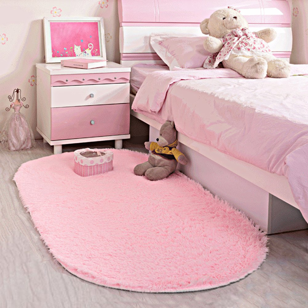 Area Rug Soft Kids Room Girls Mat Shaggy Pink Nursery Mat