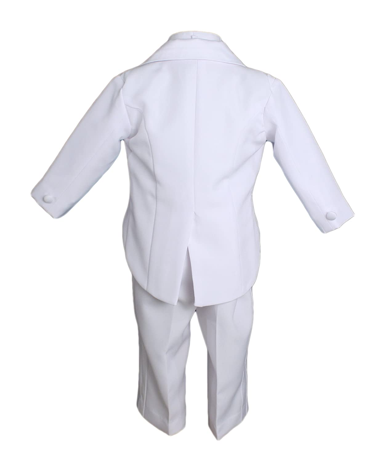 Baby Boys Formal White Poly Cotton 5 Piece Classic Suit Set with Tail
