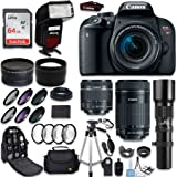 Canon EOS Rebel T7i DSLR Camera + Canon 18-55mm IS STM Lens + Canon 55-250mm Lens & 500mm f/8.0 Lens + 0.43 WideAngle Lens + 2.2 Telephoto Lens + Macro Close-ups + Accessories (Special Kit)