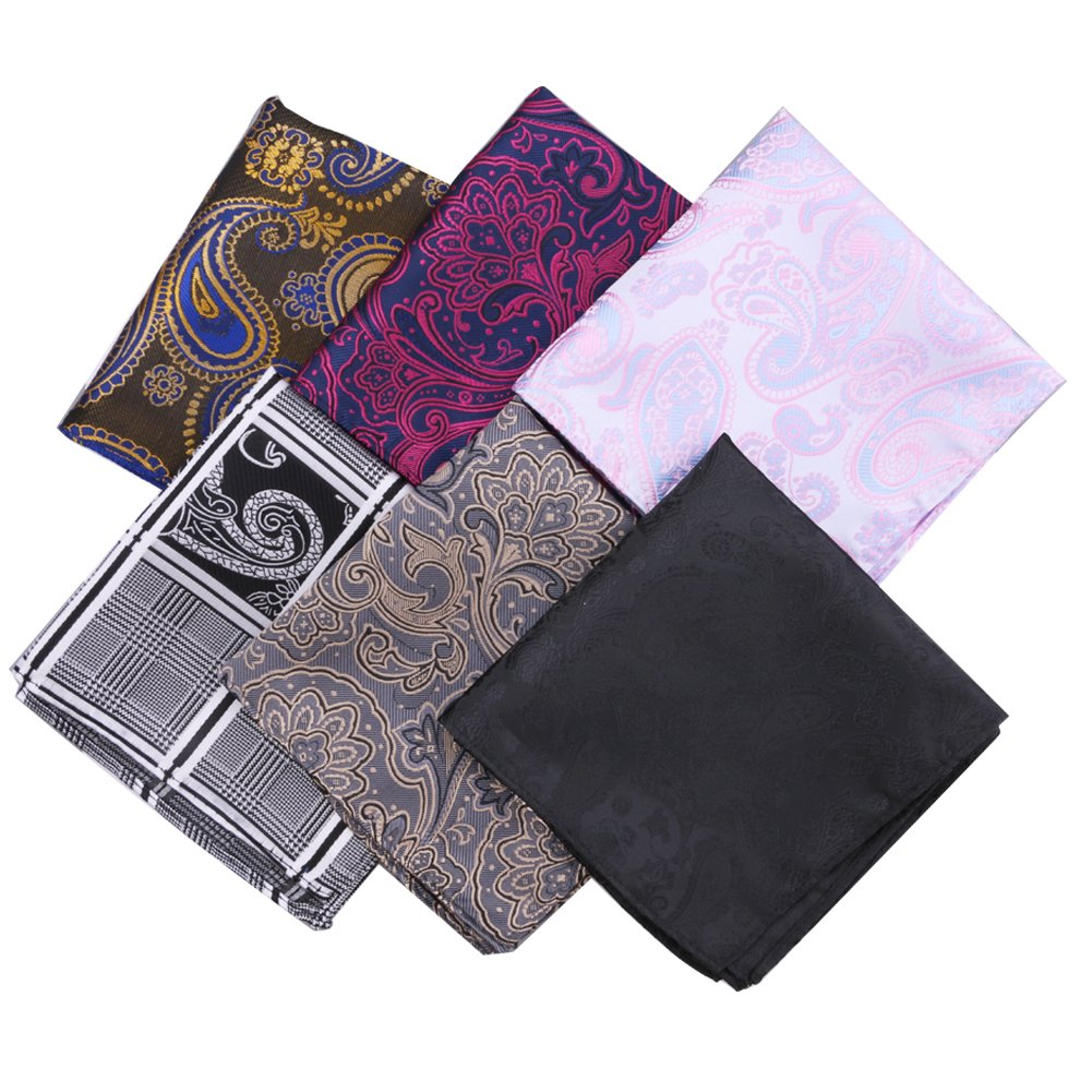 Driew 6Pcs Men Paisley Pocket Square Set Multicolor Handkerchief Wedding Party