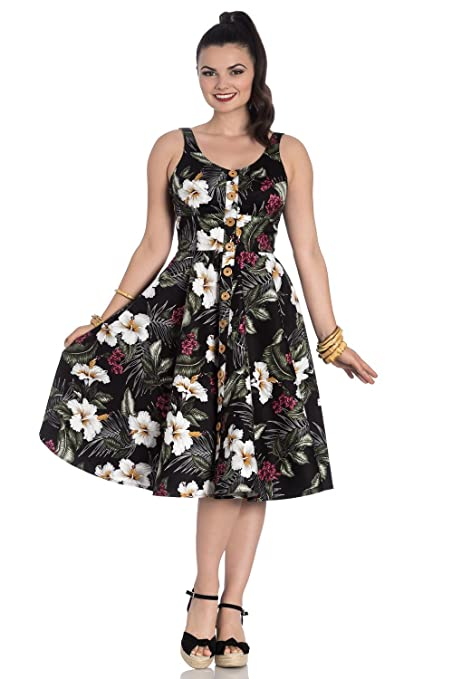 Vintage Tea Dresses, Floral Tea Dresses, Tea Length Dresses Hell Bunny Tahiti Tropical Floral 50s Vintage Rockabilly Flare Swing Party Dress $51.63 AT vintagedancer.com