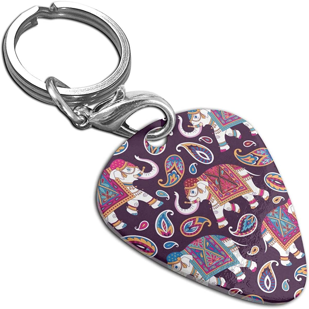 Indian Elefpants And Paisleys Custom Guitar Pick Pendant Necklace Keychain