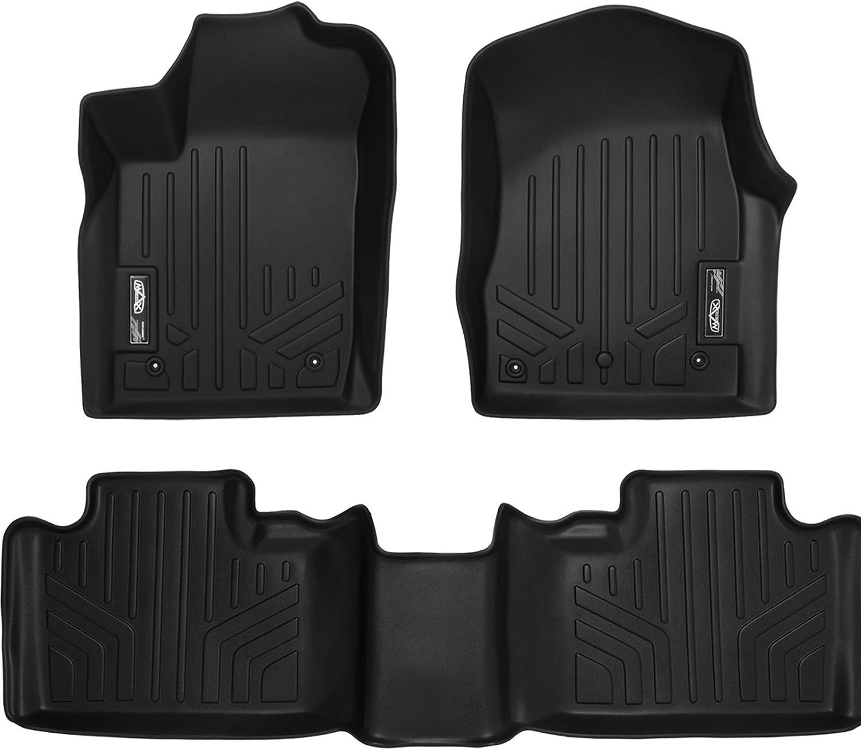 SMARTLINER Floor Mats 2 Row Liner Set Black for 2013-16 Jeep Grand Cherokee or Dodge Durango with Front Row Dual Floor Hooks