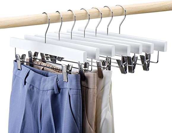 Cacalee Wooden Pants Hangers Premium Solid Wood 4 Pack 12 Inch Wood Skirt Hangers Trousers Bottom Hangers with Adjustable Clips Natural Wood Hangers Elegant for Closet Organization