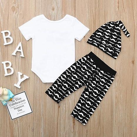 Hat 3Pcs Outfits for 0-18M PYL Baby Boy Clothing Set Newborn Infant Boys Long Sleeve Bowtie Romper Moustache Print Pants