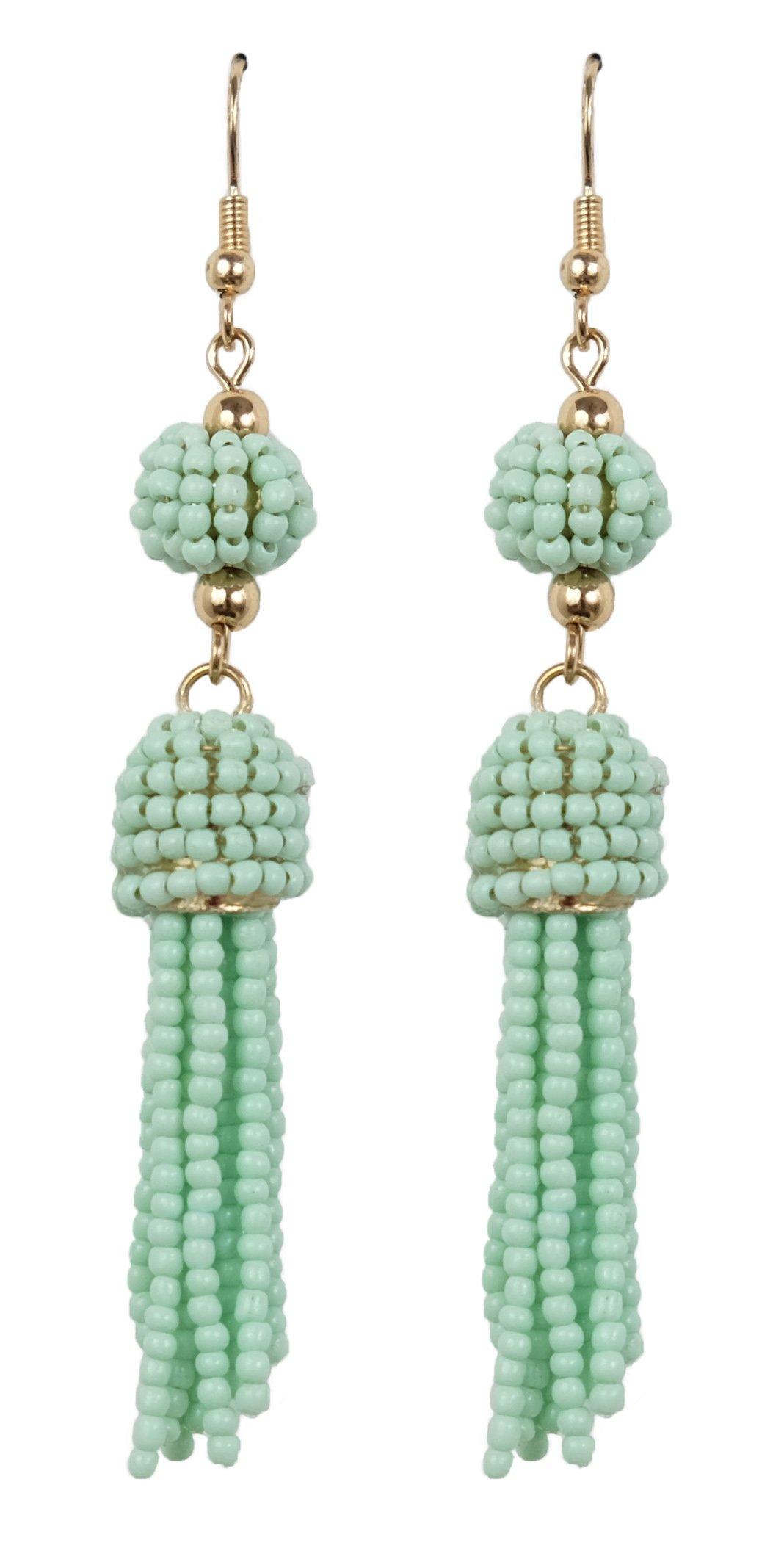 Bee Wee Jewelry Casablanca Beaded Ball and Tassel Earrings - Bon Bon Seed Beaded Ball Dangle Bubble Boho Bohemian Fringe Dainty Silver Gold Ear Drop Soriee Statement Dangles (Turquoise)