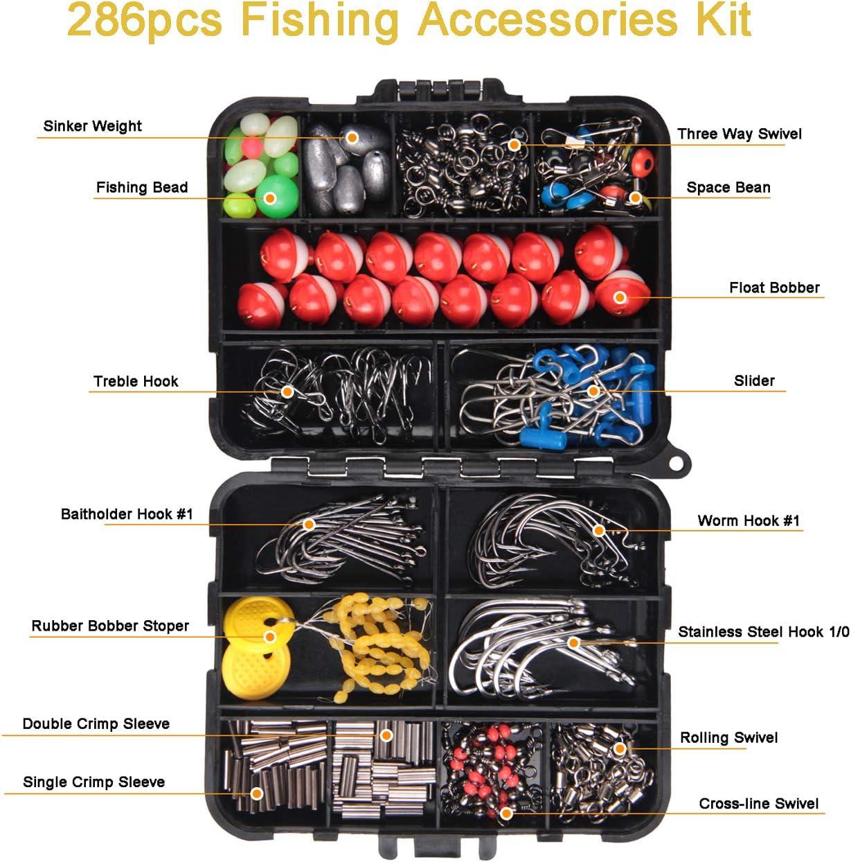 JSHANMEI Fishing Accessories Tackle Kit - Fishing Hooks, Swivel Snap, Sinker Weight, Fishing Beads, 3WaySwivelFishing for Freshwater Saltwater Terminal Tackle Box (286PCS) : Sports & Outdoors