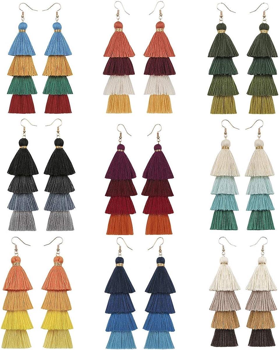 Eigso Women 3-9 Pairs Colorful Long Tassel Thread Ball Dangle Earrings Black Red Sequin Drop Earrings
