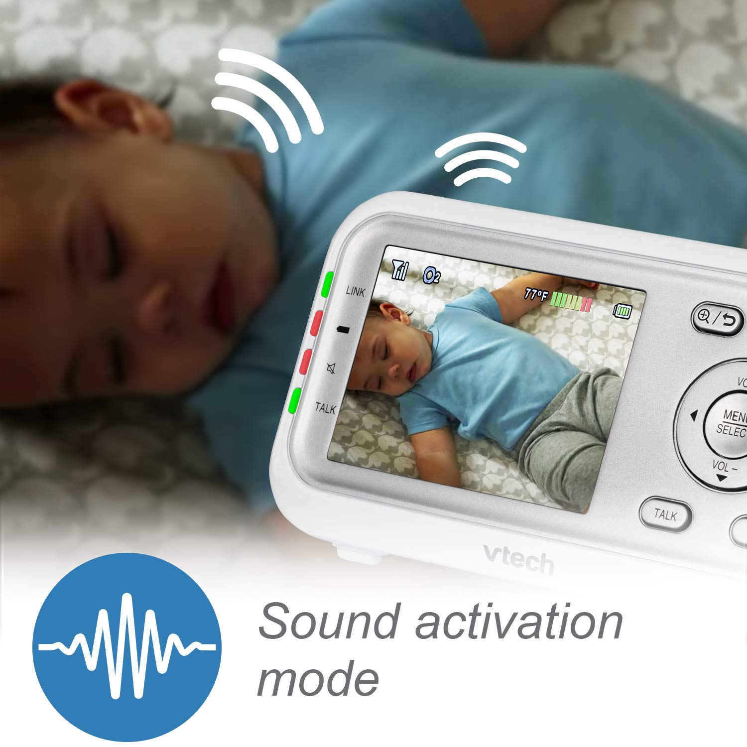 """Power Saving Mode Auto Night Vision VTech VM3253 Video Baby Monitor with 1000ft Long Range 2.8/"""" Screen 2-Way Audio Talk Temperature Sensor Lullabies and Wall-mountable Camera with Bracket"""