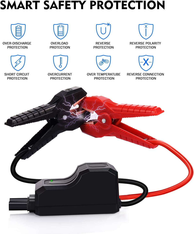 Teaisiy Avviatore Batteria Auto con USB 3.0 Porta di Ricarica Veloce 1000A 18000mAh Impermeabile Avviatore Emergenza per Auto Torcia a LED per Motori 12V Benzina 5,0L e Diesel 4.0L