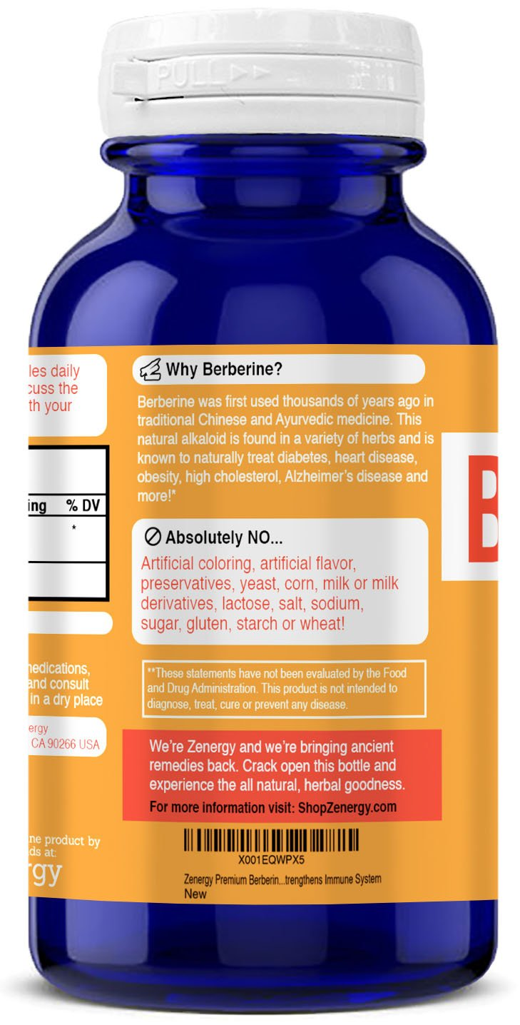 Amazon.com: Zenergy Premium Berberine HCL Supplement - Pure 900 mg Berberine Complex for Supporting Glucose Metabolism, Healthy Weight Management ...