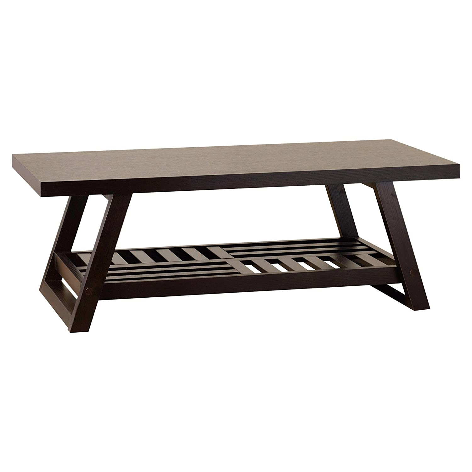 Amazon Wheeler Coffee Table a rich brown finish and casual