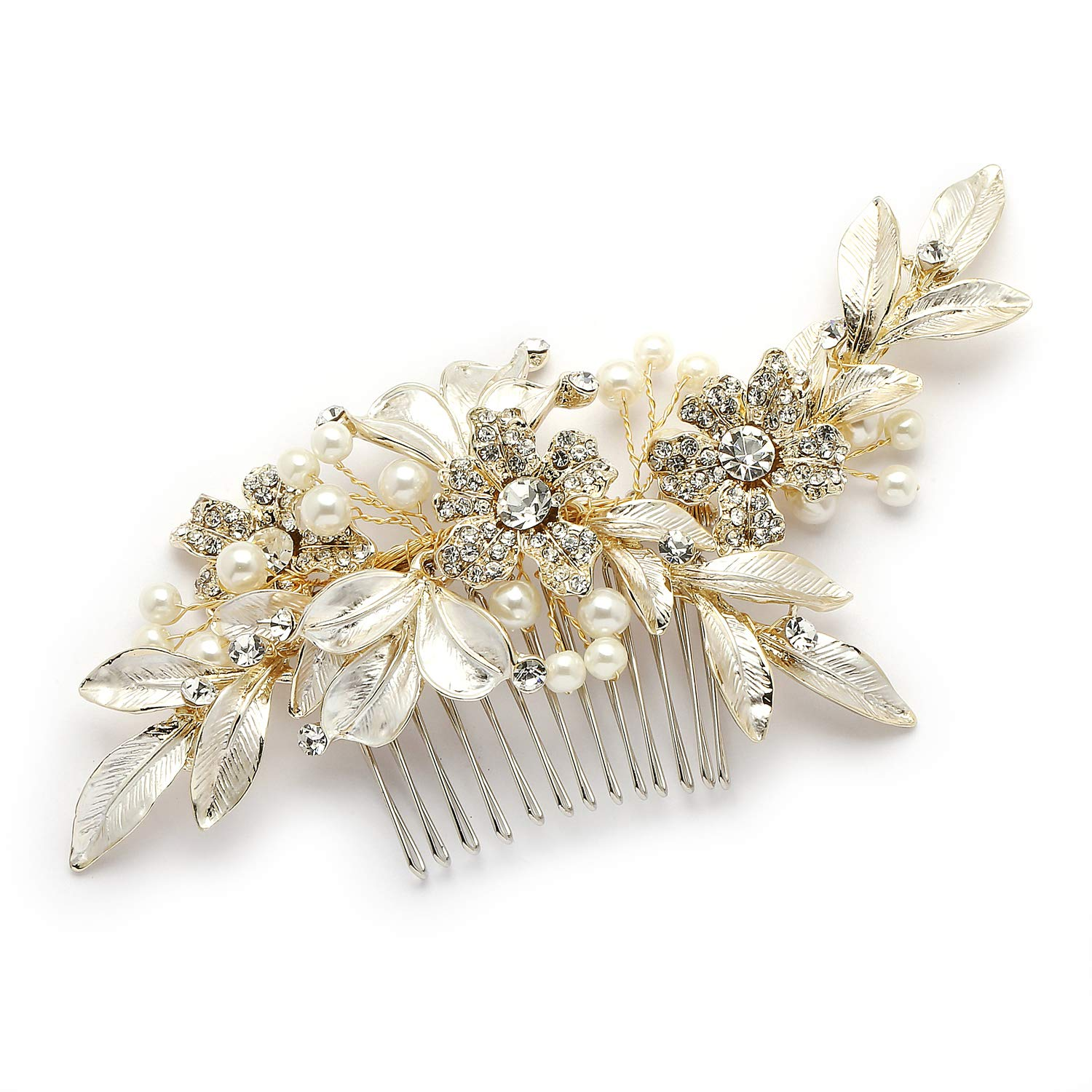 Mariell Designer Gold Bridal Hair Comb with Hand Painted Silvery-Golden Leaves and Pave Crystals by Mariell