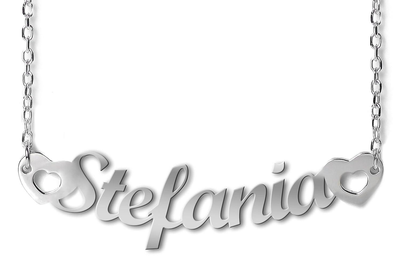 5ad610fc2e77 NOMISSIMO G11 Collar con Nombre Stefania et coeurs Y Corazones de Plata 925  rodeado antialérgico  Amazon.es  Joyería