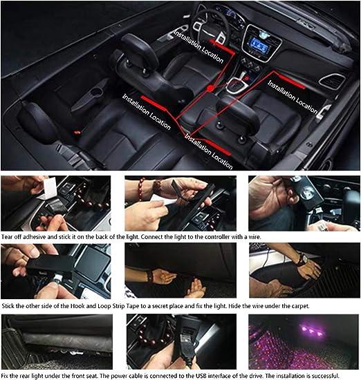 RGB Ambientebeleuchtung Auto mit APP Auto LED Innenbeleuchtung Auto LED Fu/ßraumbeleuchtung Auto Innenraum LED Strip Atmosph/äre Licht mit USB Port und Musik Steuerbar