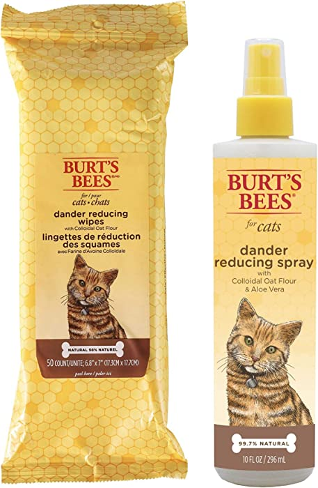 Combo Pack: Burt's Bees for Cats Grooming Wipes and Dander Reducing Spray with Colloidal Oat Flour & Aloe Vera   Cruelty Free, Sulfate & Paraben Free, pH Balanced for Cats - Made in The USA