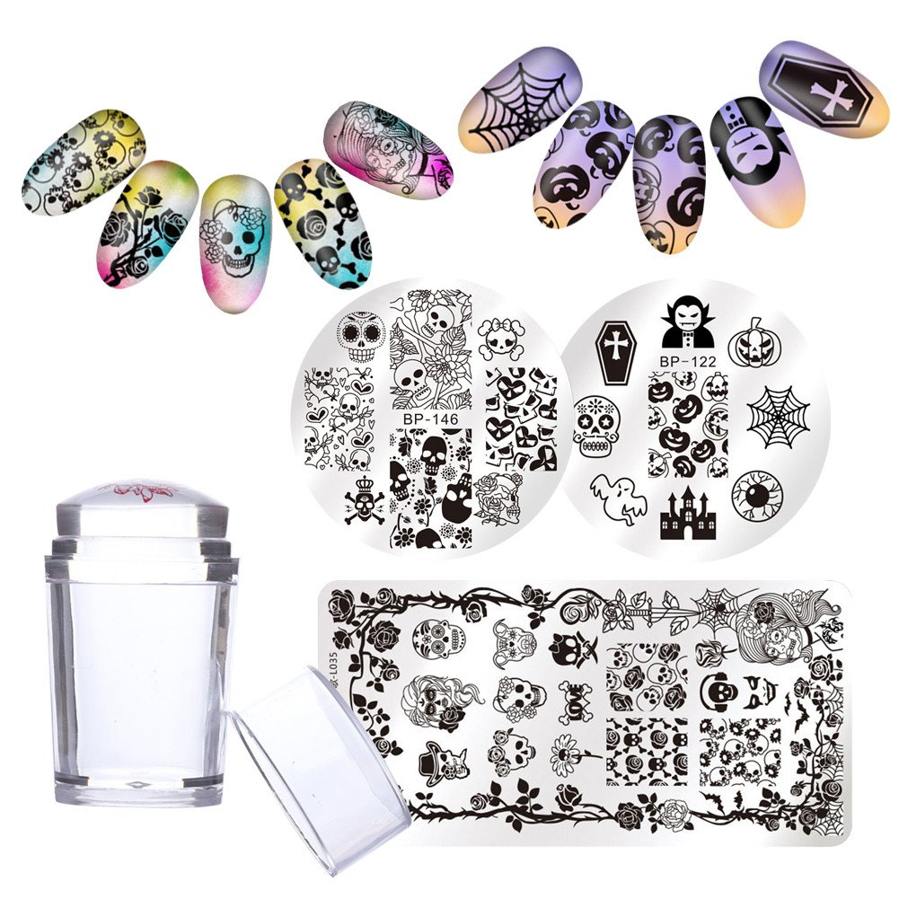 Born Pretty 3Pcs Nail Art Stamp Template Image Plate Halloween Pumpkin Skull with 1Pc Jelly Silicone Stamper Manicure Stamping Set