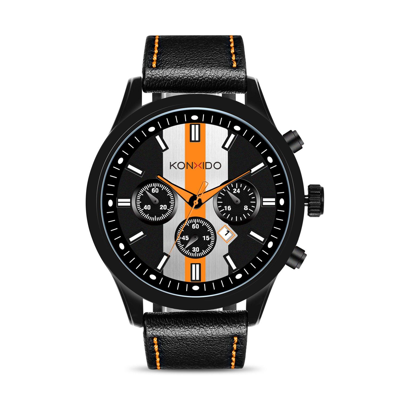 KONXIDO Mens Sports Watches Military Waterproof Big Face Analog Leather Band Wrist Watch Orange