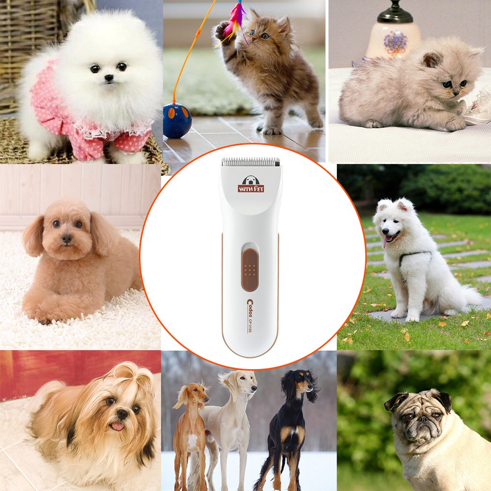 Bovon Professional Dog Clippers - Low Noise Pet Hair Clippers Cordless Dog Trimmer Pet Grooming Tools with Stainless Steel, 2 Comb Guides for Small/Large Dogs, Cats, Horse and Other Animals (White) by Bovon (Image #2)