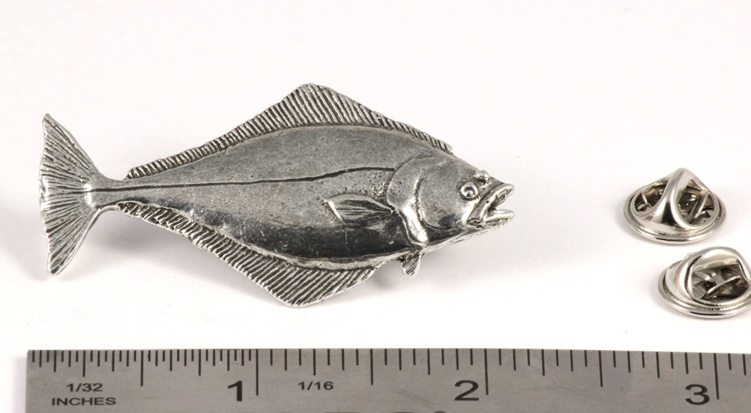 Halibut 350Lb Pewter Lapel Pin Fishing Trophy Jewelry P366