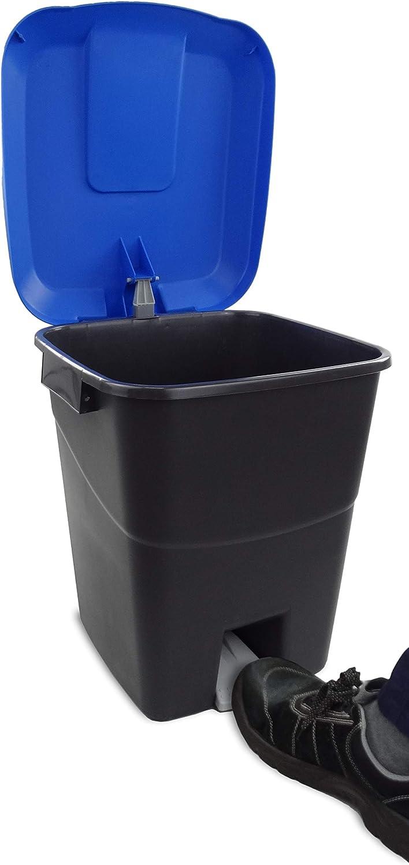 base negra y tapa azul Contenedor de residuos 50 litros con pedal