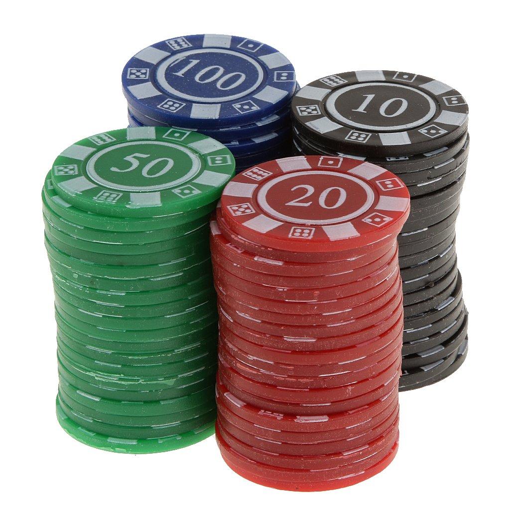 80 Jetons de Poker en Plastique -Machine de Jeu de Mahjong-Jeu de Casino- Rouge Vert Bleu Noir Generic