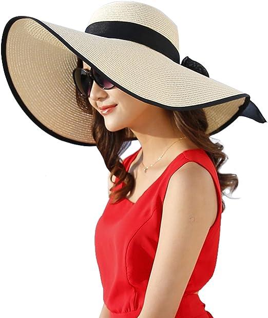 Comhats klappbarer Strohhut Sonnenhut Strohhut mit Sonnen Shade Damen breite Krempe