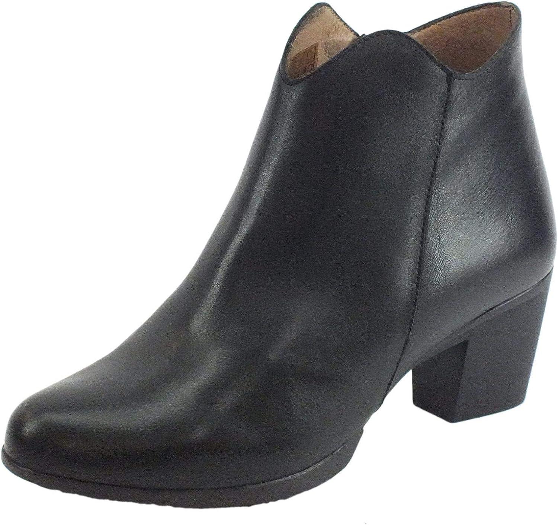 Wonders G-4746 Velvet Negro - Botines de mujer de piel negra con cremallera y tacón bajo