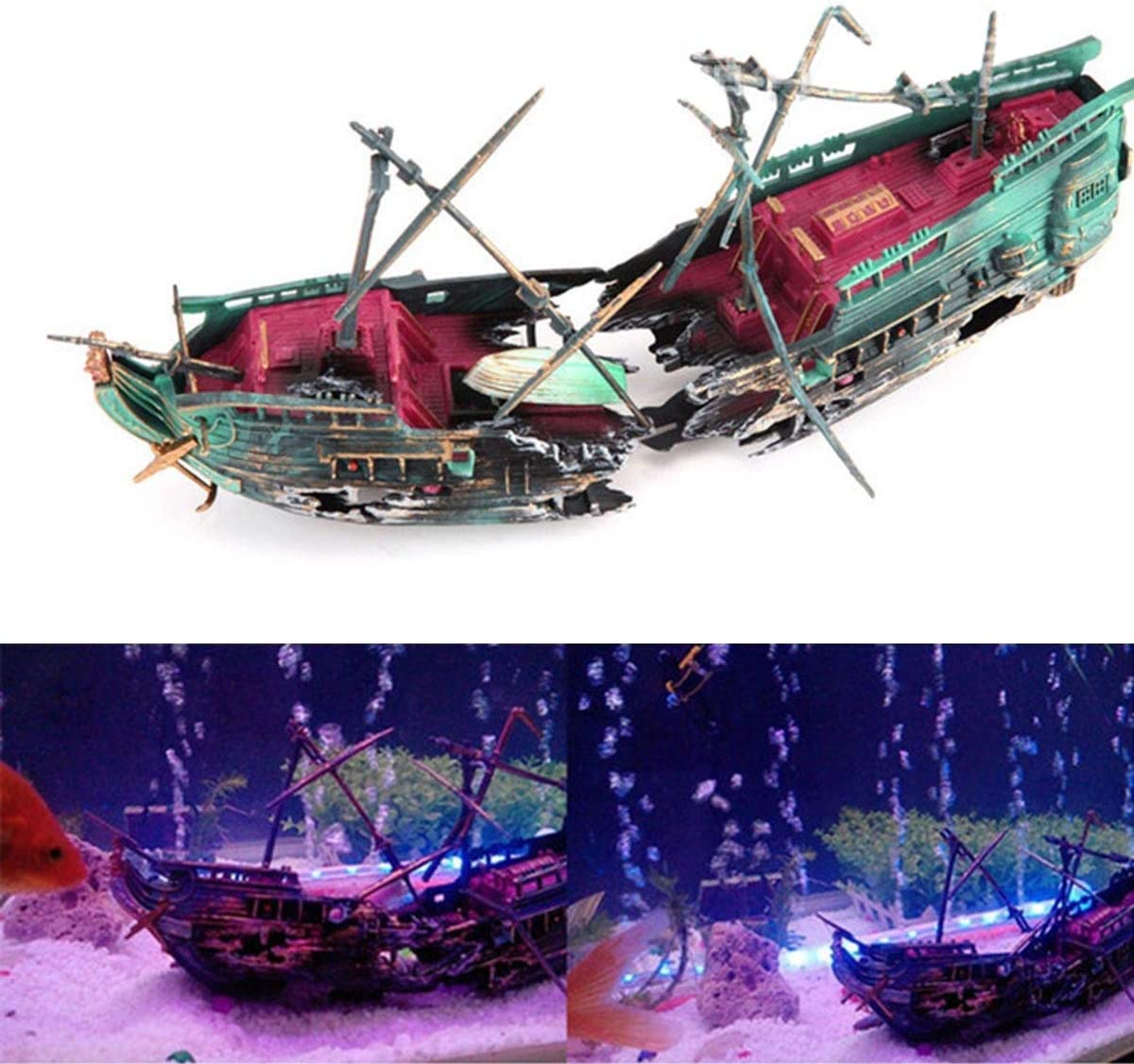 Aquarium Ornament Large Sunken Galleon Ship Wreck Air Pump Driven Action Shipwreck Decoration for Fish Tank Accessories