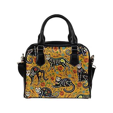 1e98b2c1eac6 InterestPrint Calavera Sugar Skull Black Cat PU Leather Handbag ...