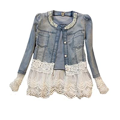 Mode Femmes Veste en jean Denim Douce Adorable Splicing Dentelle Ronde Perles