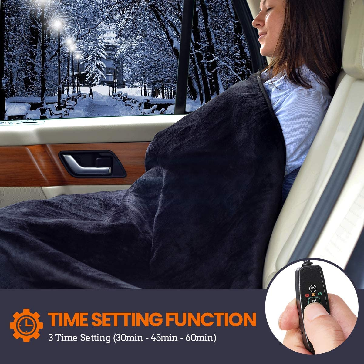AMBOTHER Car Heated Blanket 12-Volt Travel Throw