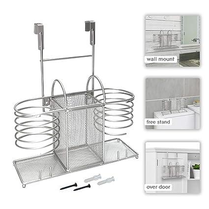 Hair Tools Organizer Over Door Bathroom Storage Basket Hair Dryer Brushes Holder