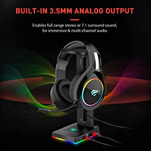 Havit RGB Headphones Stand with 3.5mm AUX and 2 USB Ports, Headphone Holder for Gamers Gaming PC Accessories Desk (Color: Black)