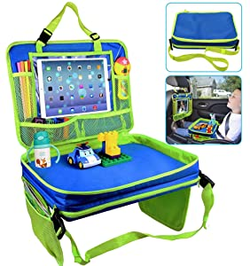 Kids Car Seat Travel Tray,Detachable Toddler Lap Table Activity Tray with Cup Holder,Backseat Storage Organizer,Carry Bag and iPad & Tablet Holder Great for Activity Snacks Play