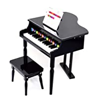 ts-ideen Kids Mini Piano from 3 years with Matching Bench Wood Black