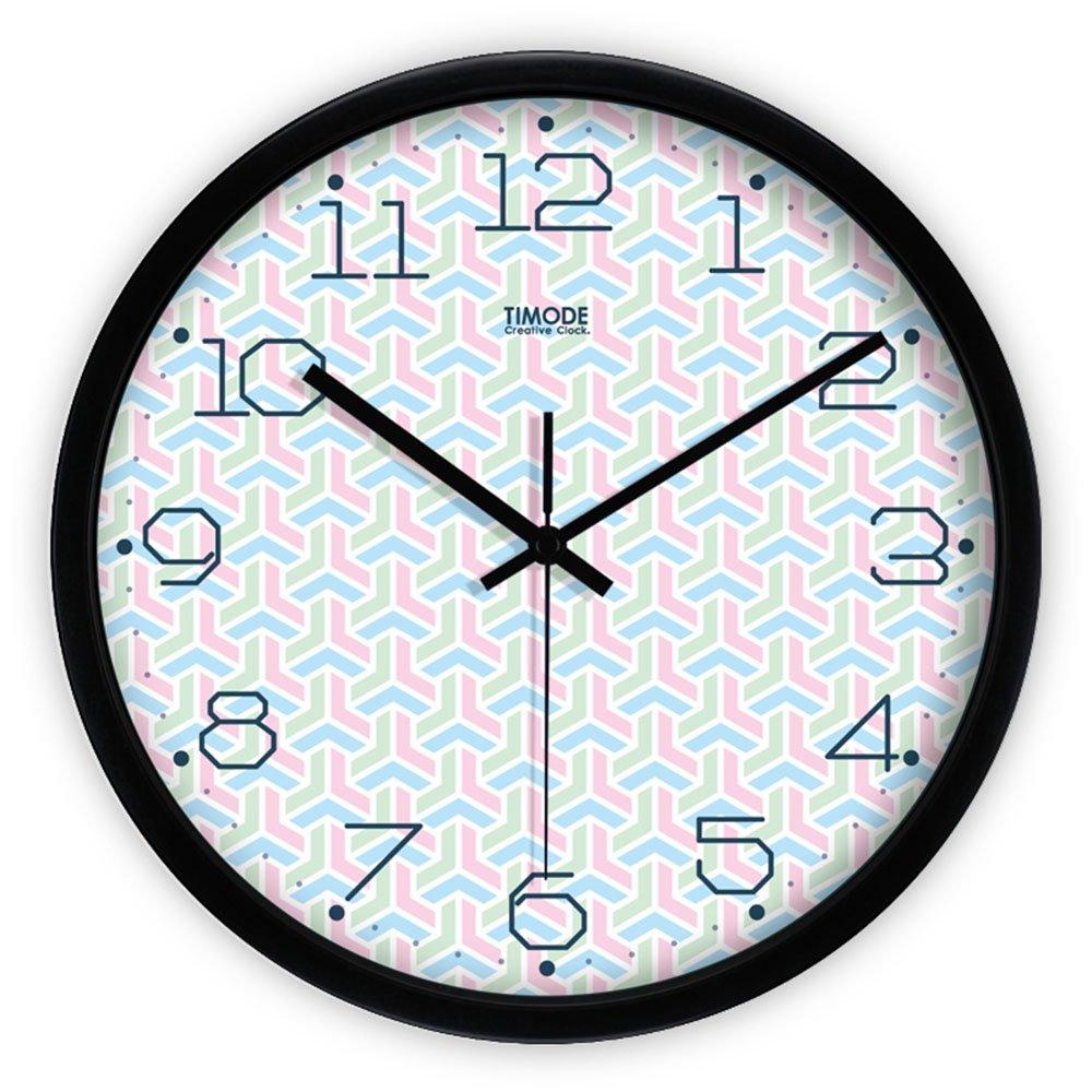 Unbekannt LXF Wanduhr Uhren und Uhren Simple Mute Wanduhr Wohnzimmer Kreative Quarz Uhr Frische Kunstuhr Round Metal Clock Wanduhren (Farbe : Schwarz, größe : 12inch)