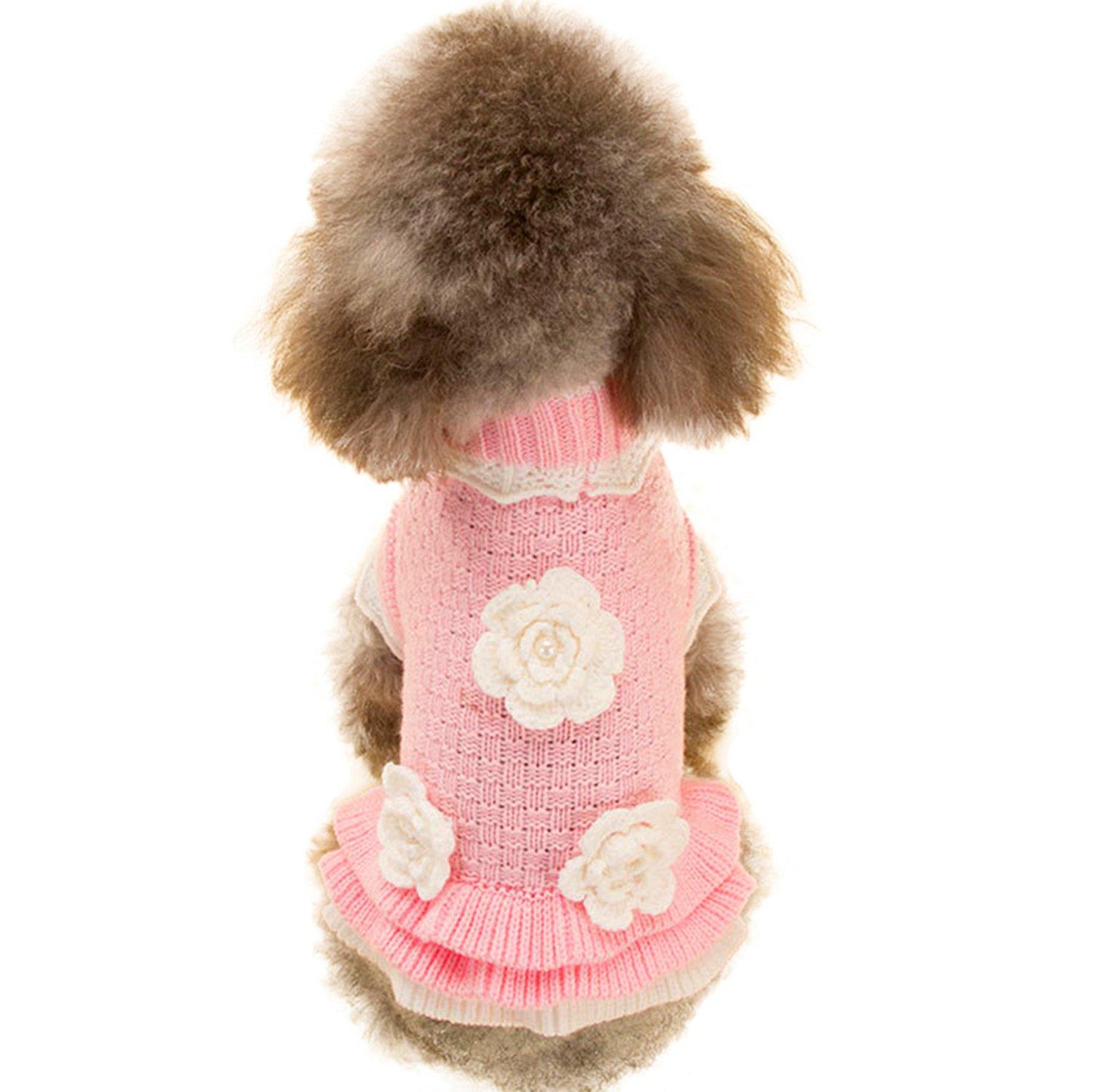 Joytale Turtleneck Flower Studded Pet Dog Sweater Apparel, Pink Female Girl Dog Winter Clothes, Fits Small Puppy Medium Breeds; Back Length 15.7''