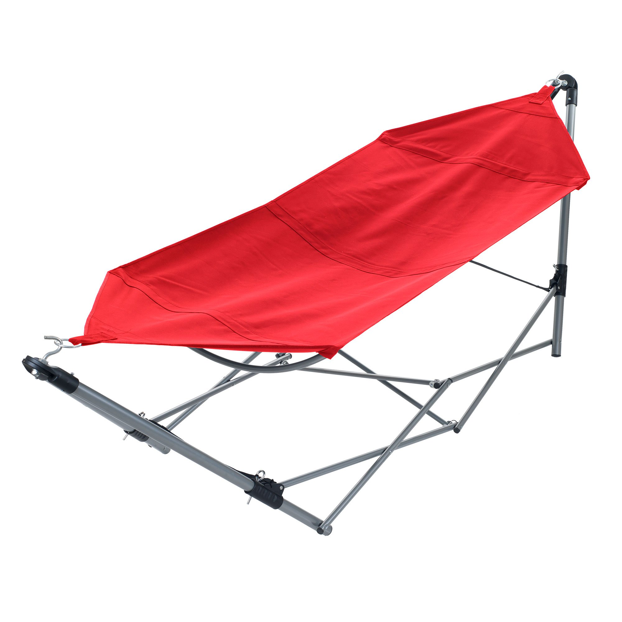 Pure Garden 80-91001R Portable Hammock with Stand-Folds and Fits into Included C, 97.5x31.5 Red