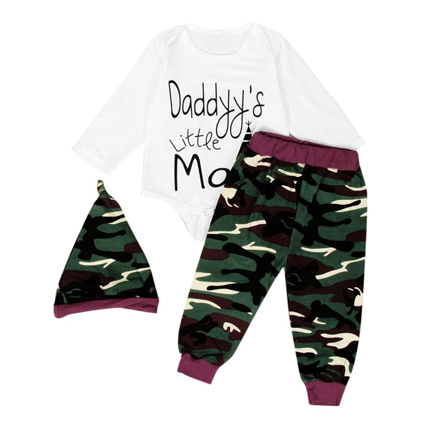 Fulltime(TM) Newborn Baby Boys Letter Romper Camouflage Pants Hat 3PCS Outfits Clothes Sets F-7324