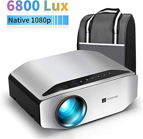 Projector,CiBest Q9 Native 1080P HD Video Projector 6800 Lux up to 300 Image 2K Supported,Display Ideal for PPT Business Presentations Home Theater Entertainment Parties Games