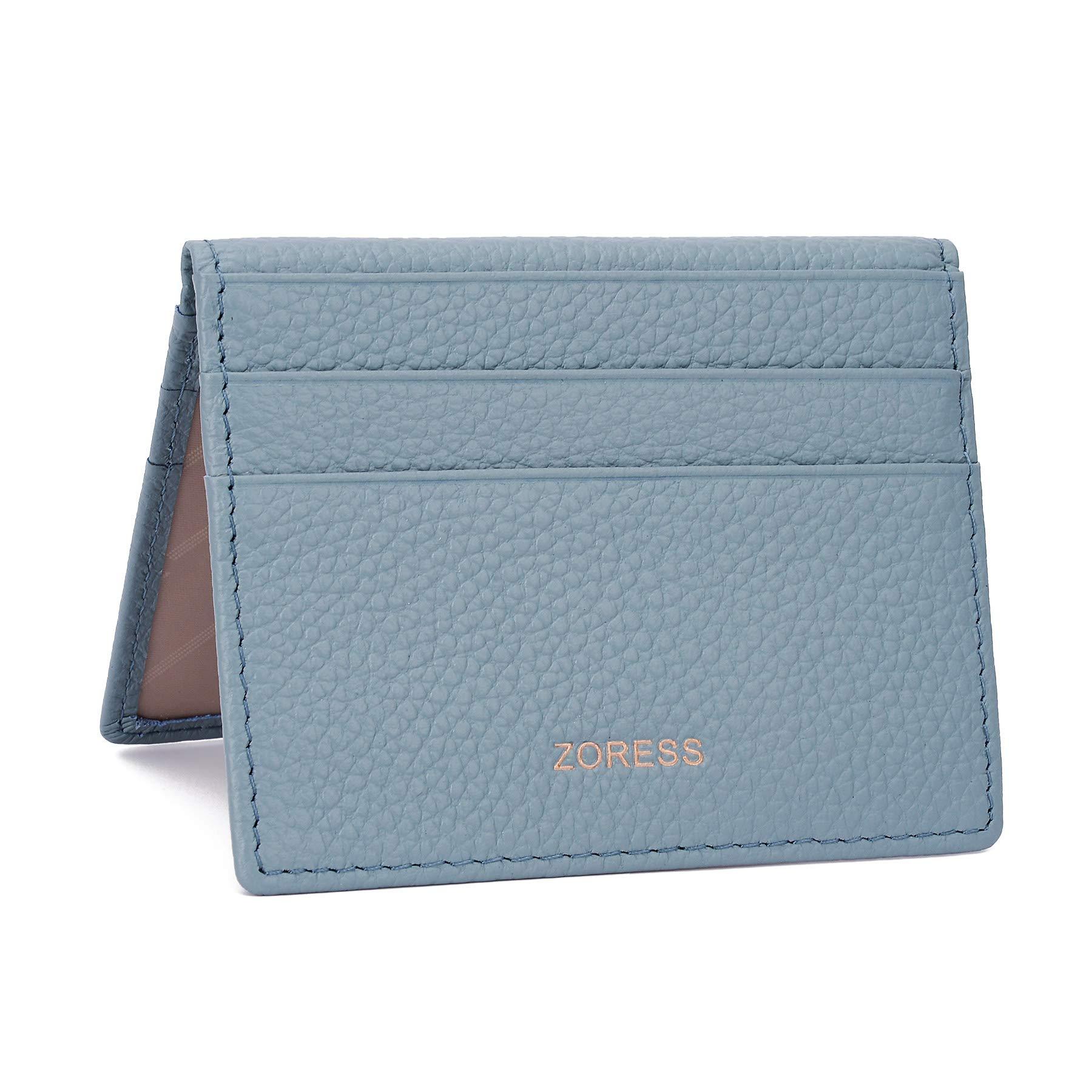 ZORESS Womens Leather RFID Blocking Slim Credit Card Case Holder Travel Front Pocket Wallet (Blue)